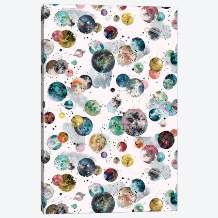 Cosmic Space Planets And Stars Multicolored Canvas Print #NDE146} by Ninola Design Canvas Print
