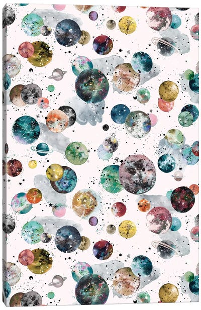 Cosmic Space Planets And Stars Multicolored Canvas Art Print