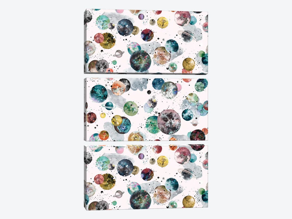 Cosmic Space Planets And Stars Multicolored by Ninola Design 3-piece Art Print
