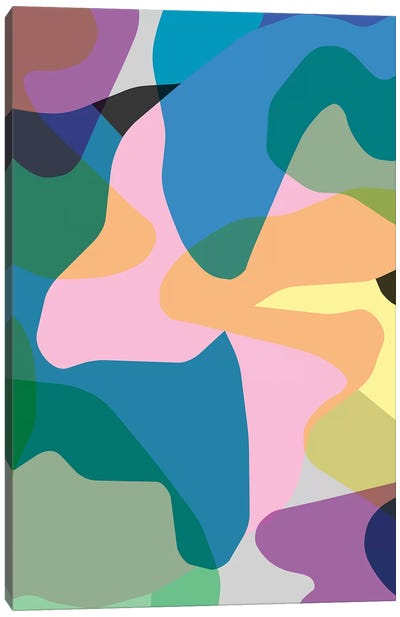 Abstract Camouflage Colorful Canvas Art Print