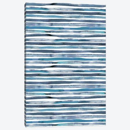 Watercolor Stripes Blue Canvas Print #NDE150} by Ninola Design Canvas Art Print