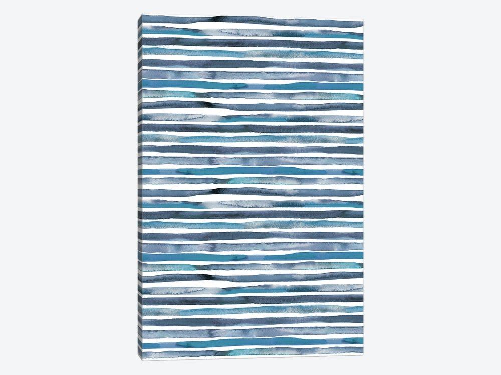 Watercolor Stripes Blue by Ninola Design 1-piece Canvas Wall Art