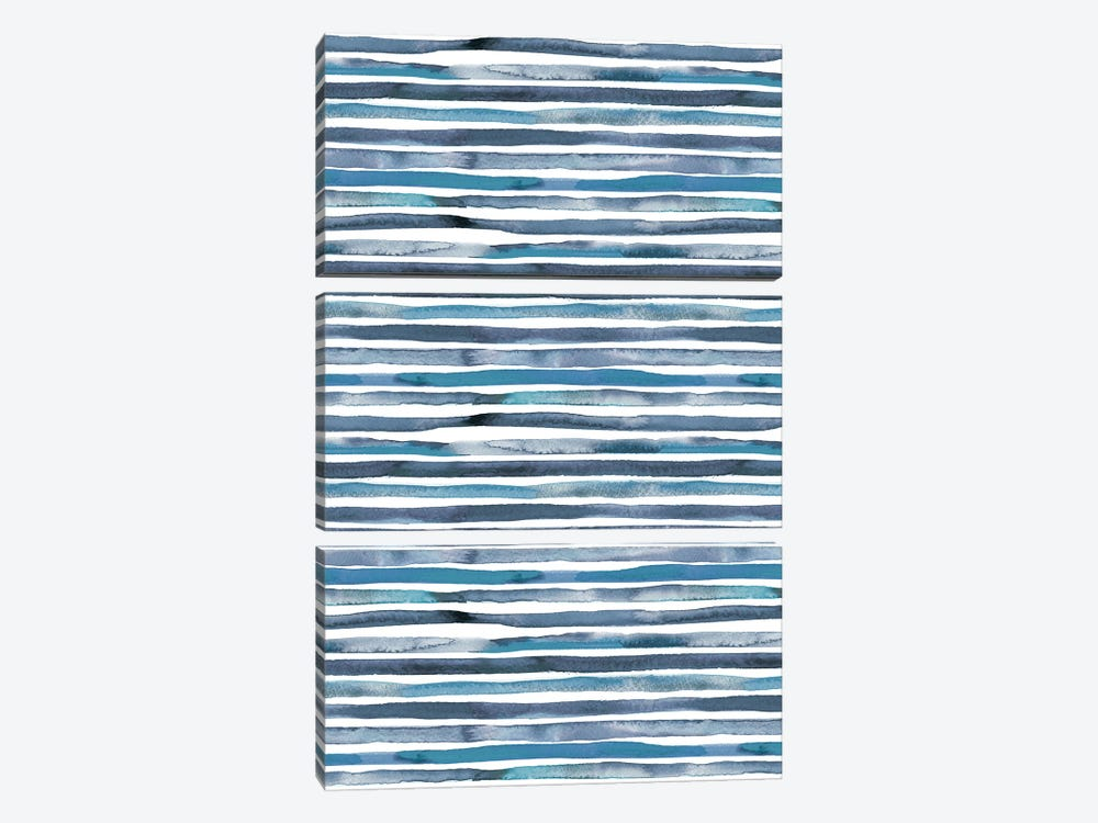 Watercolor Stripes Blue by Ninola Design 3-piece Canvas Art