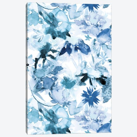 Watercolor Big Flowers Indigo Canvas Print #NDE151} by Ninola Design Art Print