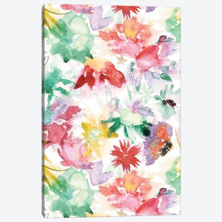 Watercolor Big Flowers Multicolored Canvas Print #NDE153} by Ninola Design Canvas Art Print