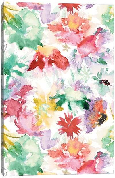 Watercolor Big Flowers Multicolored Canvas Art Print