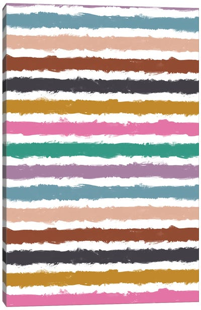 Colorful Watercolor Stripes Canvas Art Print