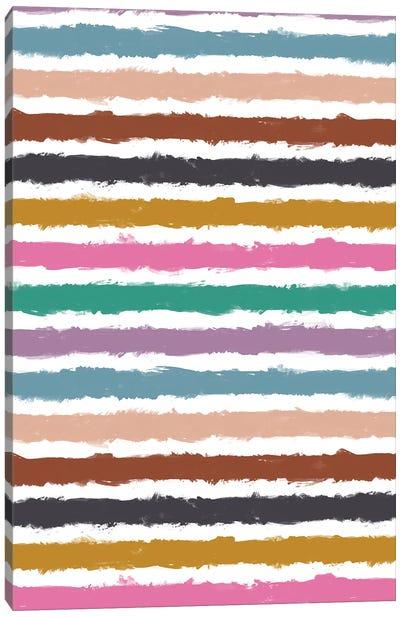 Colorful Watercolor Stripes Canvas Art Print