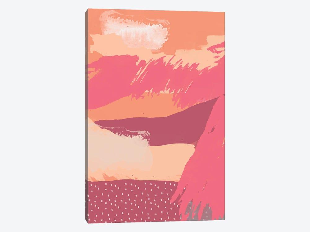 Artistic Brushstrokes Coral by Ninola Design 1-piece Canvas Wall Art