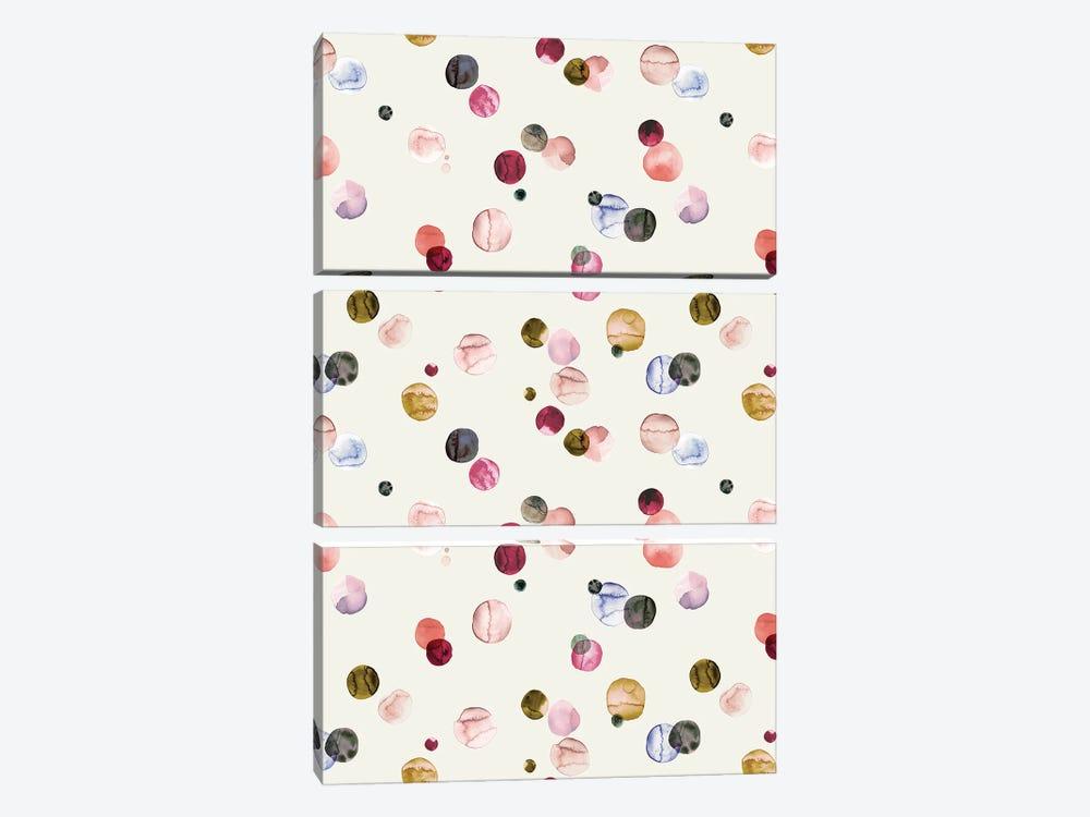 Watercolor Dots Multi by Ninola Design 3-piece Canvas Print
