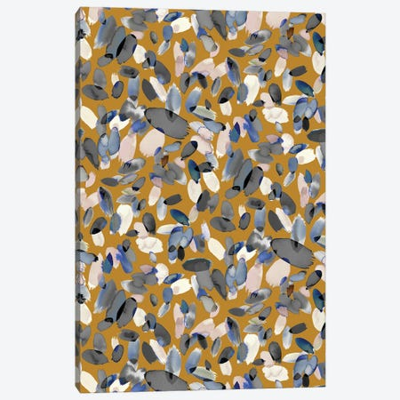 Watercolor Petal Stains Blue Mustard Canvas Print #NDE161} by Ninola Design Canvas Wall Art