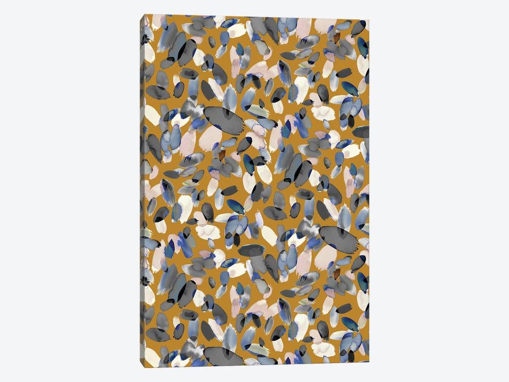 Watercolor Petal Stains Blue Mustard by Ninola Design 1-piece Canvas Artwork