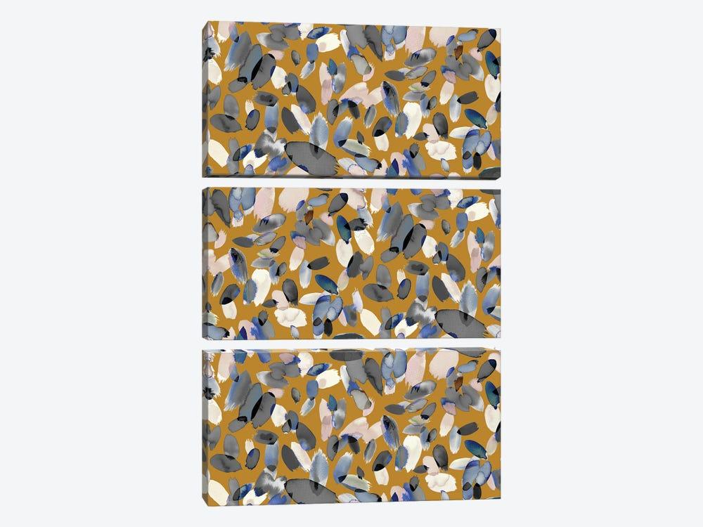 Watercolor Petal Stains Blue Mustard by Ninola Design 3-piece Canvas Art