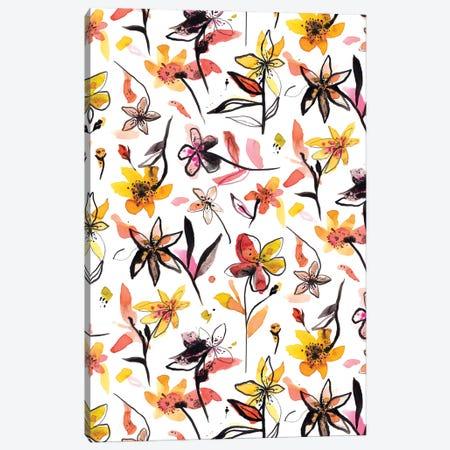 Yellow Ink Flowers Canvas Print #NDE164} by Ninola Design Canvas Art Print