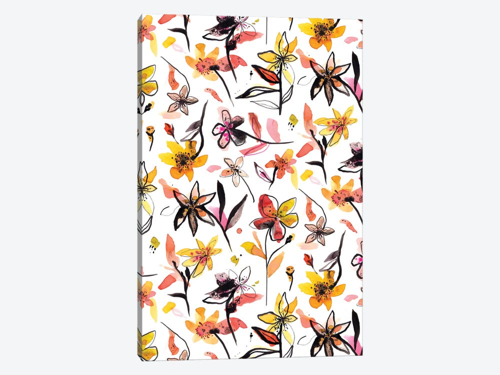 Yellow Ink Flowers by Ninola Design 1-piece Art Print