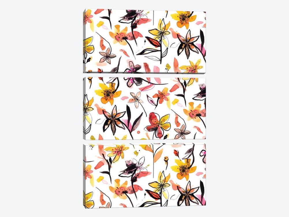 Yellow Ink Flowers by Ninola Design 3-piece Canvas Art Print