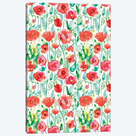 Watercolor Poppies Red Canvas Print #NDE167} by Ninola Design Art Print