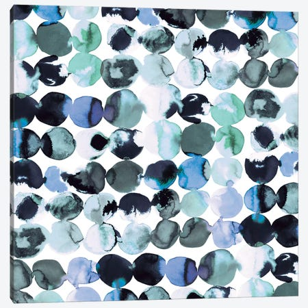Blue Ink Dots Canvas Print #NDE16} by Ninola Design Canvas Artwork