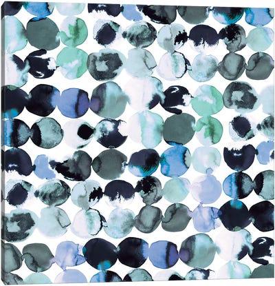 Blue Ink Dots Canvas Art Print
