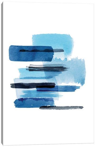 Big Watercolor Strokes Blue Canvas Art Print