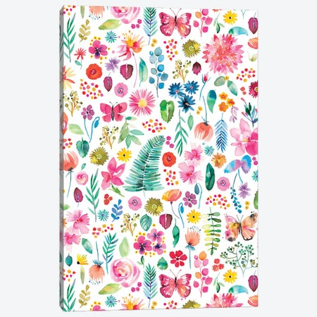 Colorful Flowers Forest Plants Multicolored Canvas Print #NDE174} by Ninola Design Canvas Art