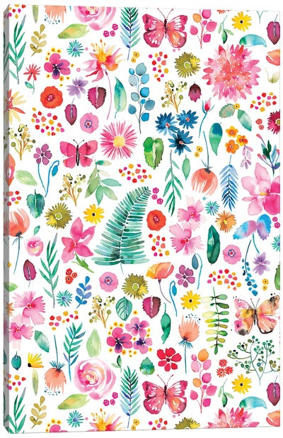 Colorful Flowers Forest Plants Multicolored Canvas Art Print
