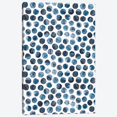 Colorful Ink Marbles Dots Blue Canvas Print #NDE175} by Ninola Design Canvas Art
