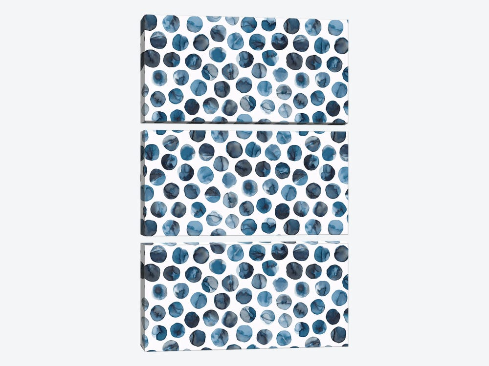 Colorful Ink Marbles Dots Blue by Ninola Design 3-piece Canvas Print