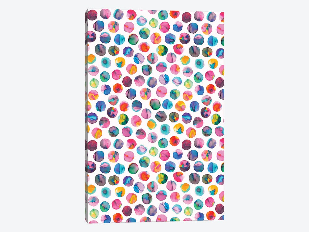 Colorful Ink Marbles Dots Multicolored by Ninola Design 1-piece Canvas Art