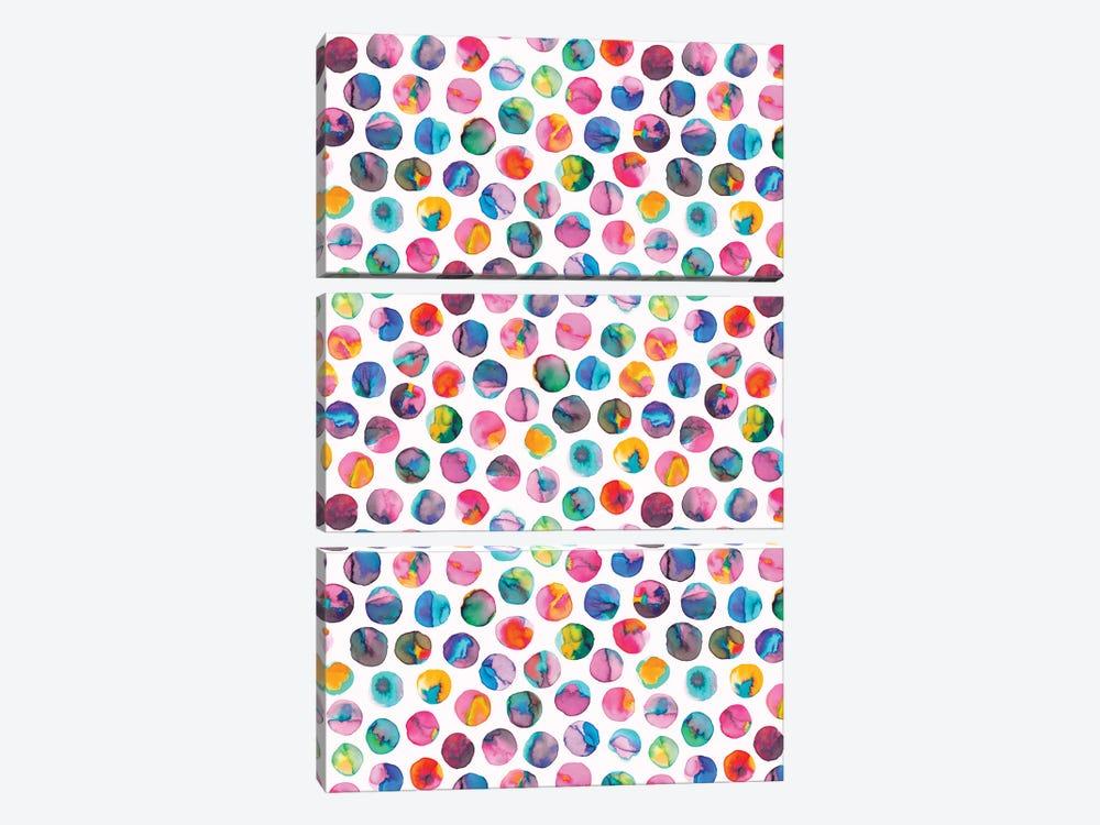Colorful Ink Marbles Dots Multicolored by Ninola Design 3-piece Canvas Artwork