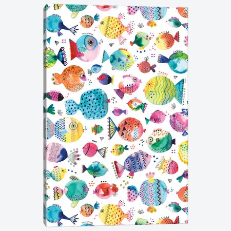 Cute Puffer Fishes Watercolor Multi Canvas Print #NDE179} by Ninola Design Canvas Print
