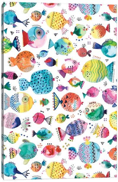 Cute Puffer Fishes Watercolor Multi Canvas Art Print