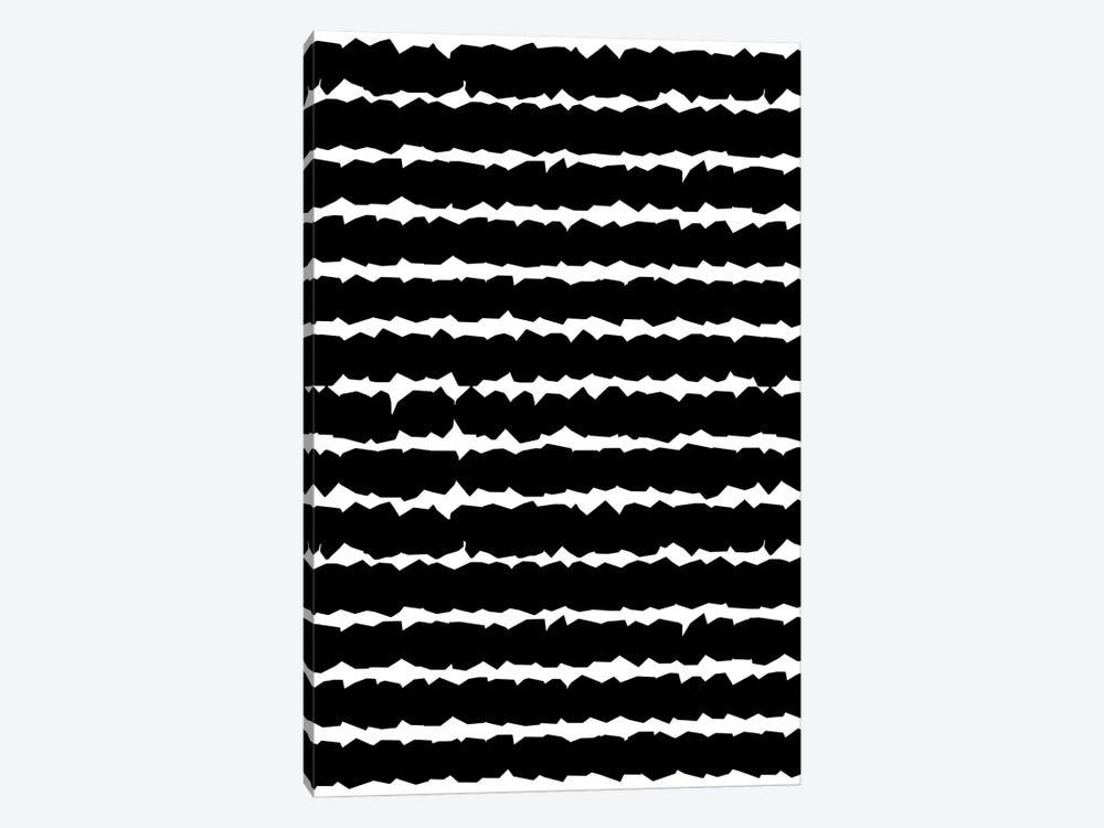 Geometric Lines Monochromatic Black by Ninola Design 1-piece Canvas Art