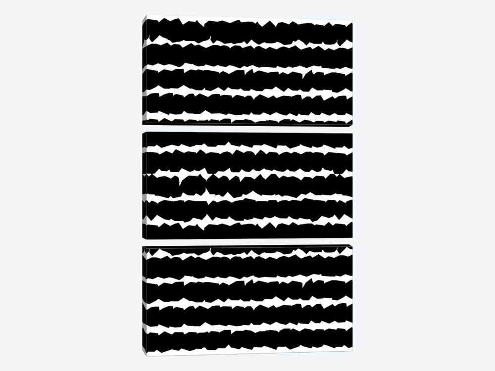 Geometric Lines Monochromatic Black by Ninola Design 3-piece Canvas Art