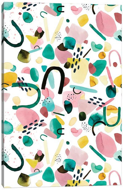 Watercolor Geometric Pieces Green Pink Canvas Art Print