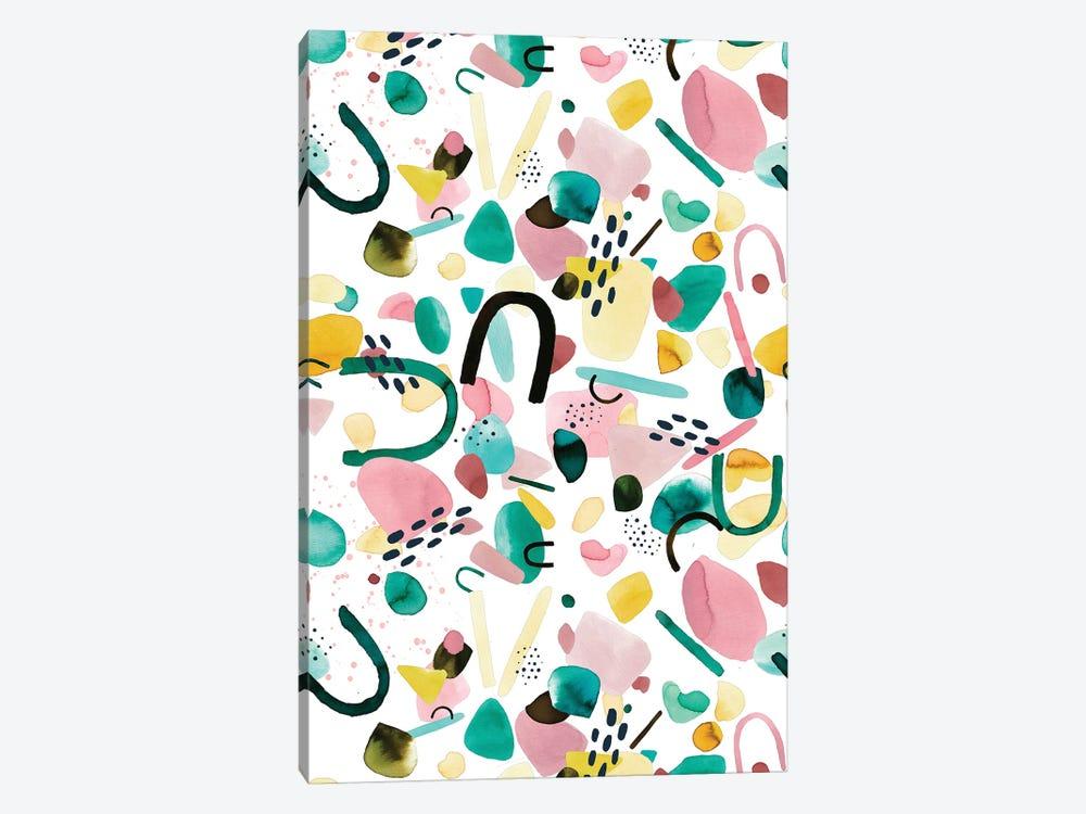 Watercolor Geometric Pieces Green Pink by Ninola Design 1-piece Art Print