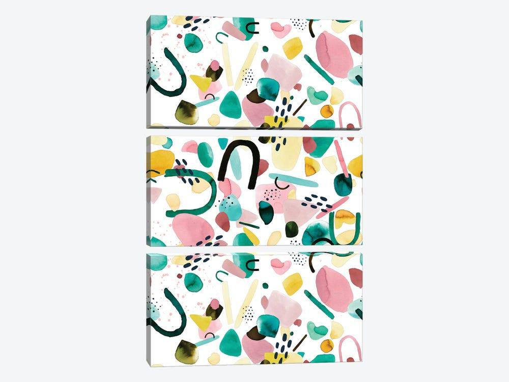 Watercolor Geometric Pieces Green Pink by Ninola Design 3-piece Canvas Art Print