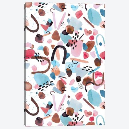 Watercolor Geometric Pieces Blue Pink Canvas Print #NDE183} by Ninola Design Canvas Art