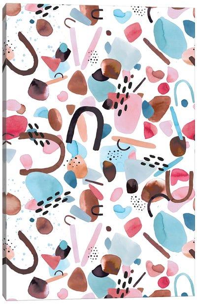 Watercolor Geometric Pieces Blue Pink Canvas Art Print
