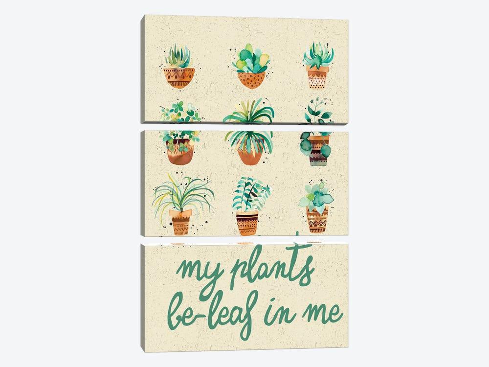 My Plants Believe In Me by Ninola Design 3-piece Canvas Art Print