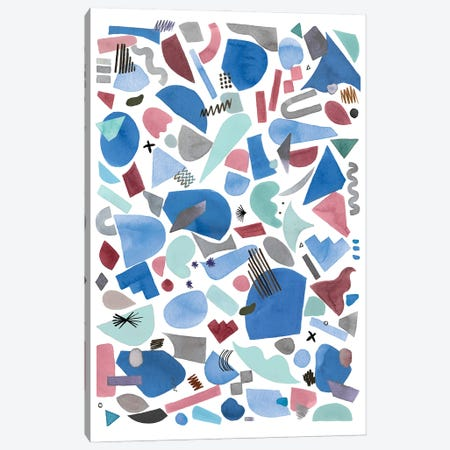 Geometric Pieces Blue Pink Canvas Print #NDE187} by Ninola Design Canvas Art Print