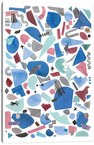 Geometric Pieces Blue Pink Canvas Art Print