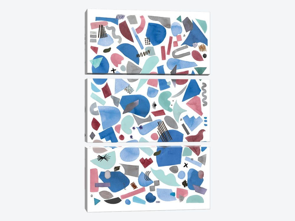 Geometric Pieces Blue Pink by Ninola Design 3-piece Canvas Artwork