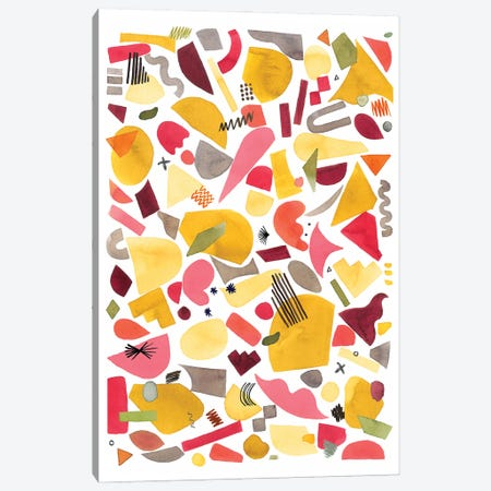 Geometric Pieces Red Yellow Canvas Print #NDE188} by Ninola Design Canvas Wall Art