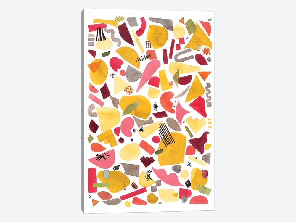 Geometric Pieces Red Yellow by Ninola Design 1-piece Canvas Art Print