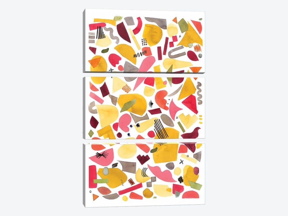 Geometric Pieces Red Yellow by Ninola Design 3-piece Art Print