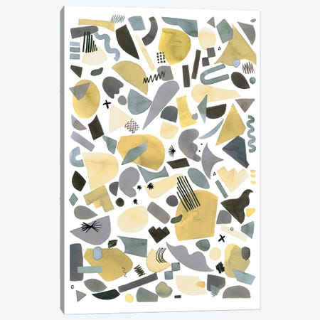 Geometric Pieces Silver Gold Canvas Print #NDE189} by Ninola Design Canvas Artwork