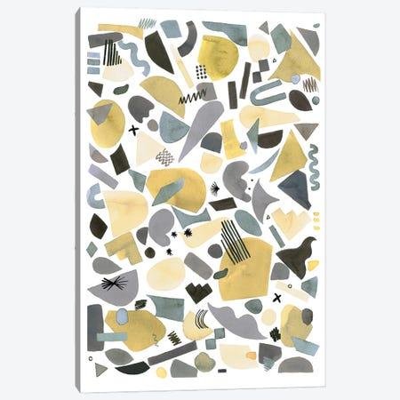 Geometric Pieces Silver Gold Canvas Print #NDE189} by Ninola Design Canvas Artwork