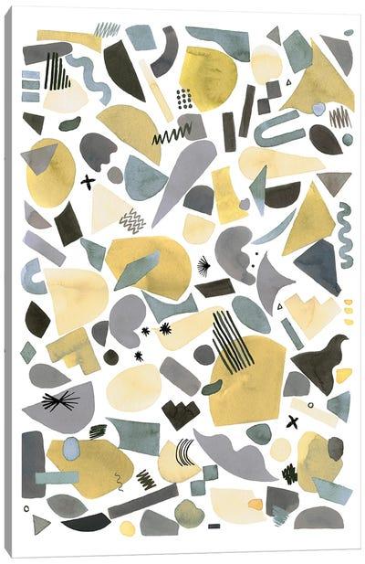 Geometric Pieces Silver Gold Canvas Art Print