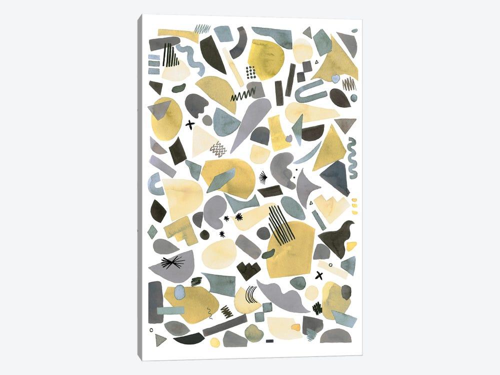 Geometric Pieces Silver Gold by Ninola Design 1-piece Canvas Artwork